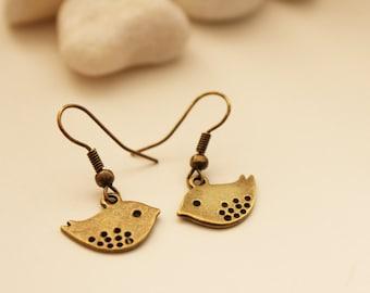 Sweet Love Birds  Earrings. Bronze. Garden. Gift For Her (VER-16)
