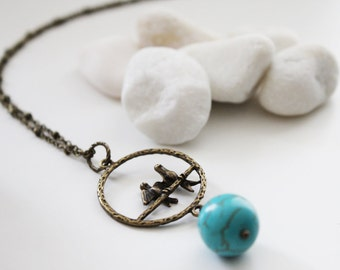 Love Birds are Having a Ball. Long Necklace with Howlite (VNL-21)