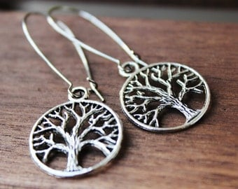 Tree of Life Earrings. Antique Silver (SER-19)