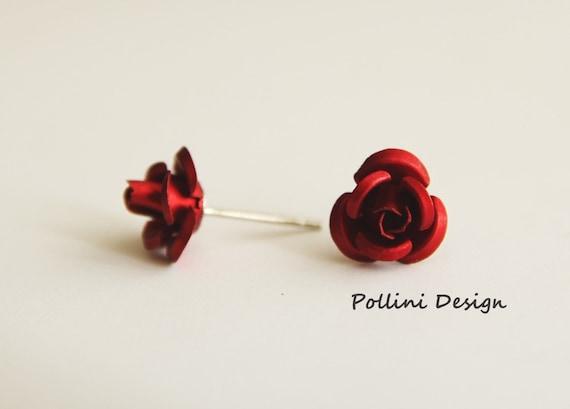 Petite Rose Post Earrings. Lipstick red. Gift For Her (VER-59)