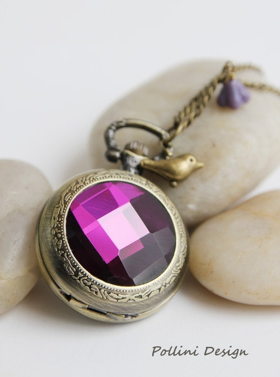 Antique Gold  Amethyst Crystal Pocket Watch Necklace Decorated with Little Birdie and Lilac Czech Glass Flower (PW-15)