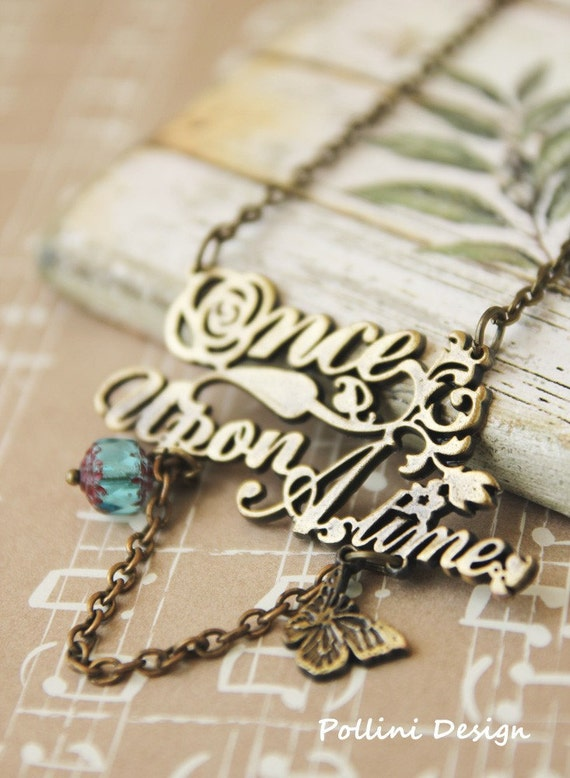 Once Upon A Time -  Antique Gold Long Necklace with  Aqua Czech Glass (VNL-01)