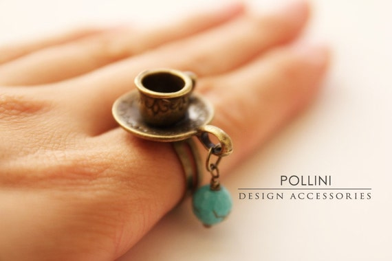 Have a Cuppa.  Vintage Style Tea and Saucer Adjustable Ring. Turquoise Blue (RG-05)