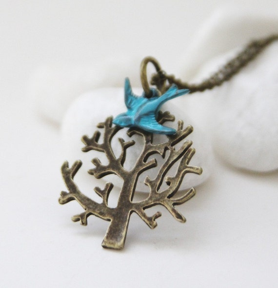 Top of the Tree Necklace. Blue Bird. Teal Garden Series 6 (NL-10)