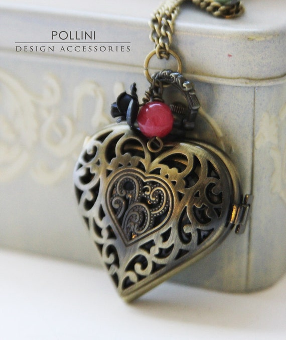Open My Heart. Antique Gold Heart-shaped Pocket Watch Necklace Decorated with Petite Rose and Milky Jade. Precious Time Series.