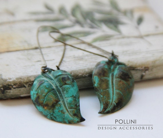 Nature Leaf Earrings. Verdigris Patina. Garden (VER-03)