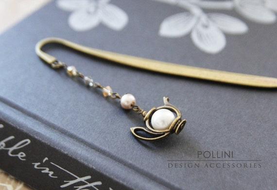 Vintage Teapot  Bookmark/ Letter Opener - Swaroski Pearls and Crystals