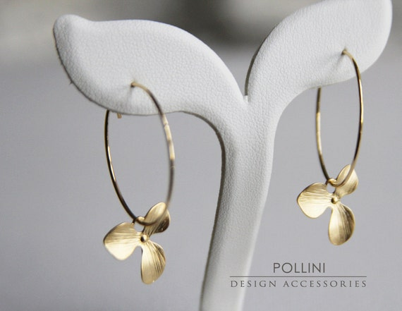 Orchid Hoop Earrings. Matte Gold. Everyday Wear. Elegant. Gift For Her (SER-02)