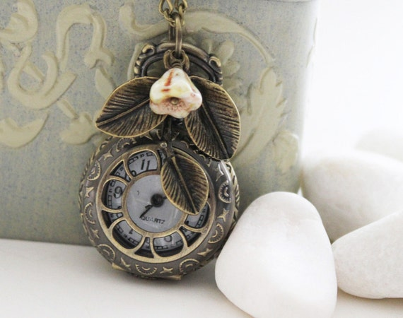 Antique Gold Pocket Watch Necklace Decorated with Leaf and Vintage Green Czech Glass - Small (PW-18)