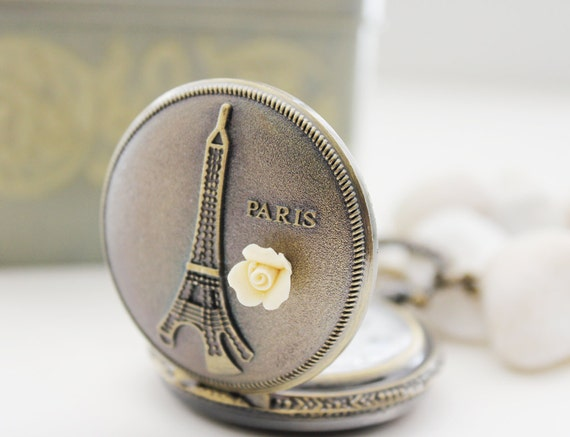 Time in Paris. Antique Gold Pocket Watch Necklace Decorated with Eiffel Tower Carving and Petit Fleur Cameo (PW-04)