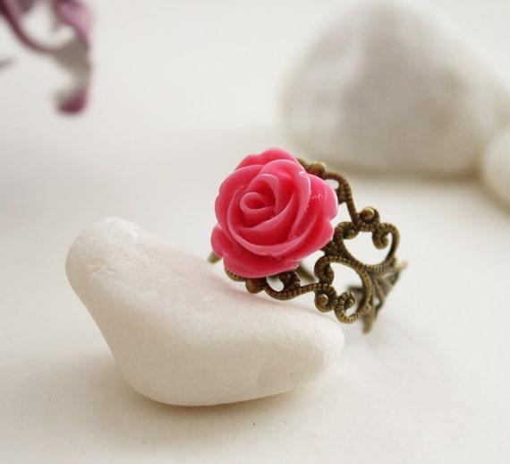 Coral Red Rose on  Vintage Filigree Ring (RG-16)