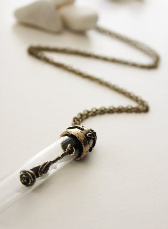 A Rose to You. Vintage Long Neckalce with a Bronze Rose in a Bottle (VNL-05)