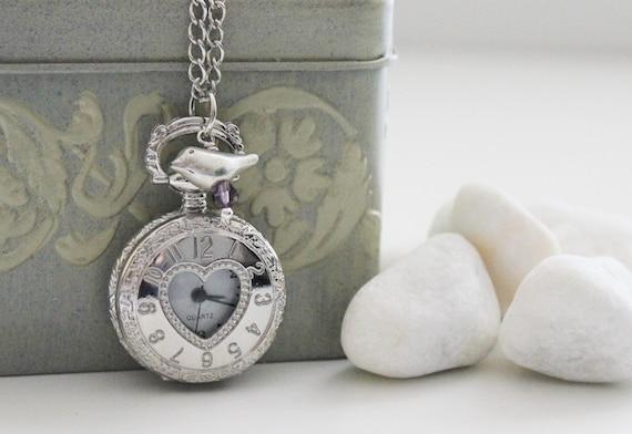 Sweetheart Birdie Silver Pocket Watch Necklace (PW-16)