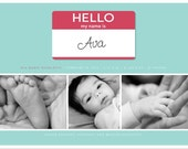 Photo Birth Announcement - Hello My Name Is Name Tag