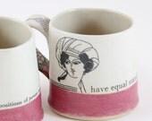 bazooka pink and cream women mugs with great feeling handles