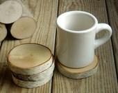 Single Natural White Birch Wood Coaster