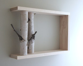 white birch forest wall art/shelf - 18x12, birch branch,  framed birch art, floating shelves, display shelves, shadow box