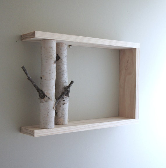 White Birch Forest Wall Art/Shelf  - 18x12, birch shelf, wooden shelf, framed birch art, floating shelves, display shelves, shadow box