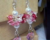 Pink Hearts and Pearl earrings