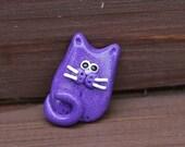 Glittery Purple Polymer Clay Cat Brooch