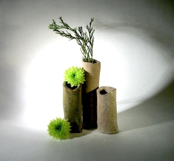 Ceramic Natural Bud Vase Trio - Neutral Colors