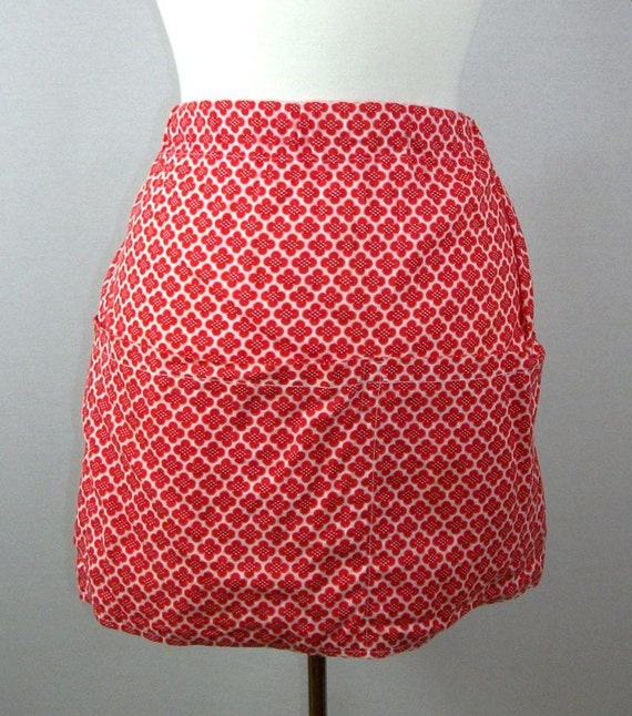 1960s Vintage Apron Red and White Four Pocket