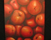 Red Apples Painting, Original Acrylic Painting,  12 x 16 inches Canvas, Apple Kitchen Art, Apples Home Decor, Apple Wall Art, Red Apples Art