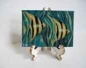 "Angel Fish Miniature Original Painting, 2.5 x 3.5"""