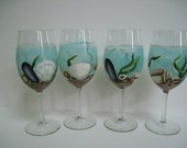 Seashells Painted Wine Glasses, Original Artwork,  Set of 4
