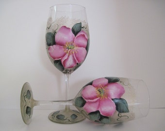 Painted Wine Glass, Wild Roses, Orignal Painting, Single Wine Glass, Original Artwork on Glass