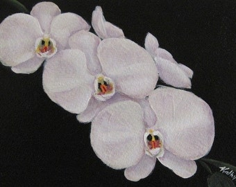 """White Orchids Painting, Original Acrylic Painting,  Matted 8 x 10"""",  White Orchids, White Phalaenopsis Orchid, Orchid Artwork"""