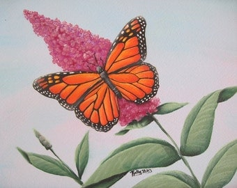 """Monarch Butterfly Painting, Original Acrylic  Painting,  Matted 11 x 14"""", Monarch Butterfly on Butterfly Bush, Butterfly Art"""