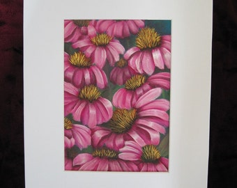 Pink Cone Flowers Original Painting,  Matted 8 x 10 inches, Original Acrylic Painting