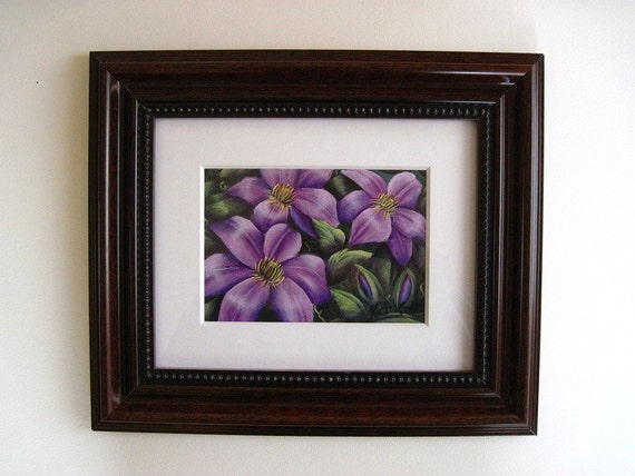 Purple Clematis Painting, Original Acrylic Painting, Matted and Framed, 13.5 x 11.5 inches, Purple Clematis