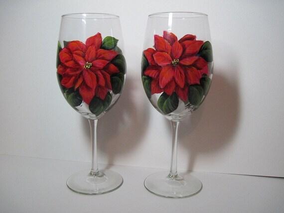 Poinsettias Painted Wine Glasses, Original,  Set of 2