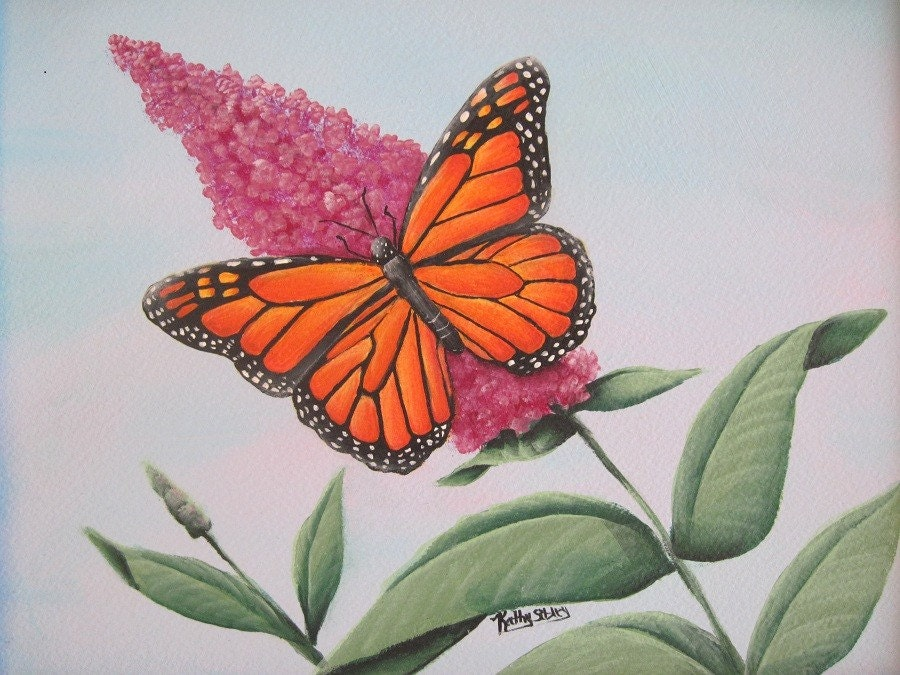 Monarch Butterfly Painting Original Acrylic Painting By