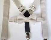SALE bow tie and suspenders for toddler boy natural linen