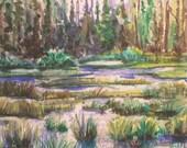 Idaho Morning, original watercolor unframed, 5x7 inches