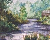 New River in North Carolina, original watercolor, 5x7