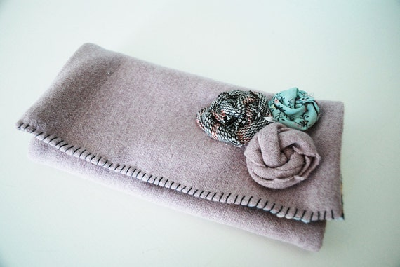 Lavender Wool Wallet Clutch from Repurposed Vintage Clothing w/ 3 Rosettes