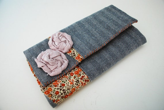 Denim and Floral Cloth Clutch Wallet with Lavender Rosettes and Zipper Pouch