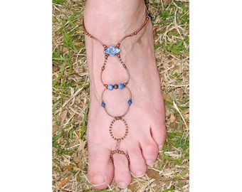 slave anklet barefoot sandal Sodalite (blue) and copper brockus creations handcrafted jewelry