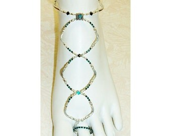 Slave anklet barefoot sandal blue zircon (turquoise blue) crystal brockus creations handcrafted jewelry