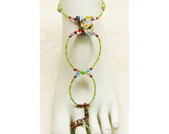 Slave anklet barefoot sandal enameled butterfly brockus creations handcrafted jewelry - adjustable