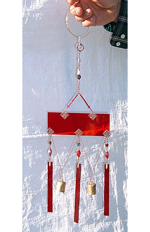 red stained glass sun catcher and chimes with bells brockus creations