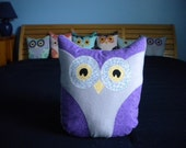 Plush Owl Pillow Stuffed Animal - Lavender and Bright Purple