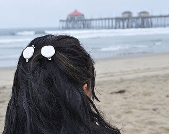 Sea Cookie Barrettes Set - Little White Sea Shell Cookies Tropical Hair Accessory Cookies Mermaid Hair