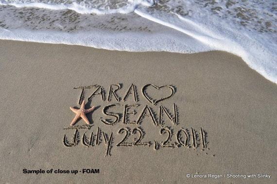 11x14 PRINT CUSTOM any message you'd like written in REAL beach sand, birthday wedding, monogram, tribute shower, beach writing