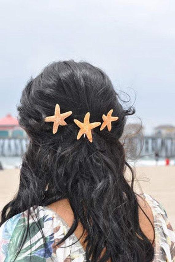 Three Shimmery Sugar Starfish Bobby Pins Beachside Wedding Perfect Hair Accessory for The Beach Girl  Mermaid Hair