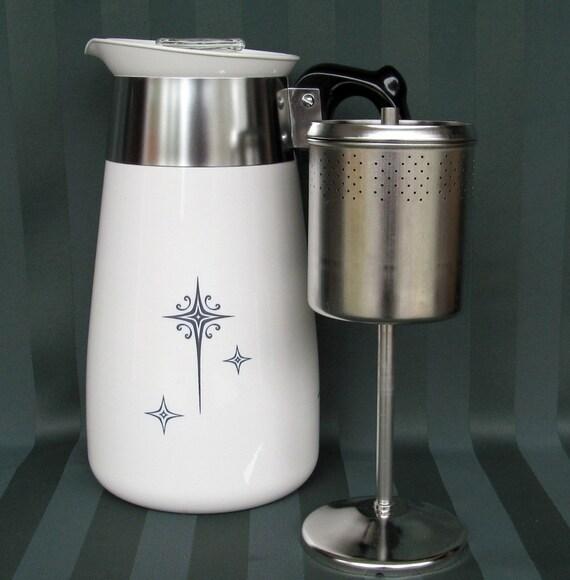 Vintage Corning Ware Black Starburst  Coffee Pot Percolator